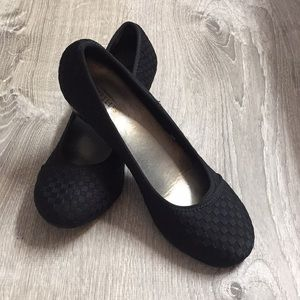 Black wedge slip on shoe